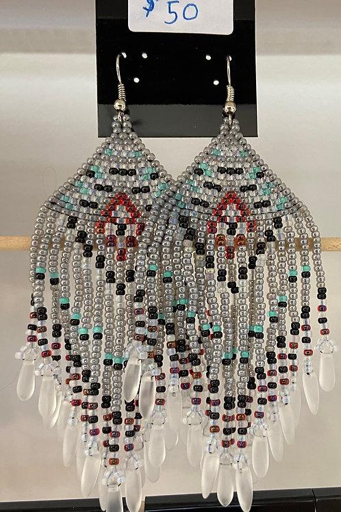 Native American Inspired Brick Stitch Fringe Earrings