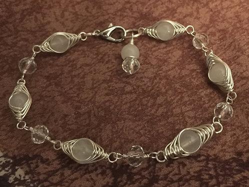 Herringbone Wire Wrapped Stone Bracelet