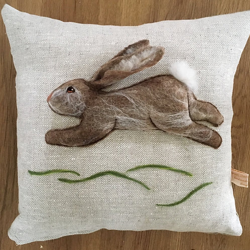 Rabbit needle felt sculpture pillow