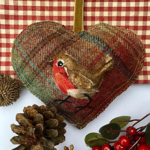 Robin on Tartan ~ personalised gift heart, personalized gi