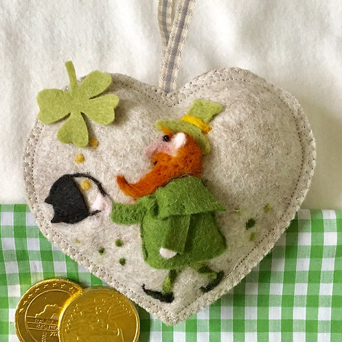 St. Patrick's Day Lepracaun ~  personalised gift heart