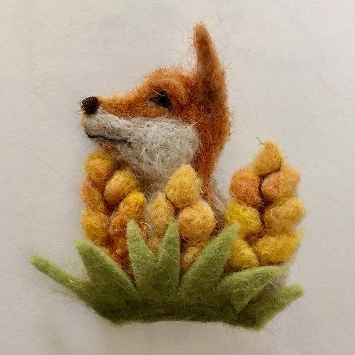 Fox in the Barley Felt Flower brooch