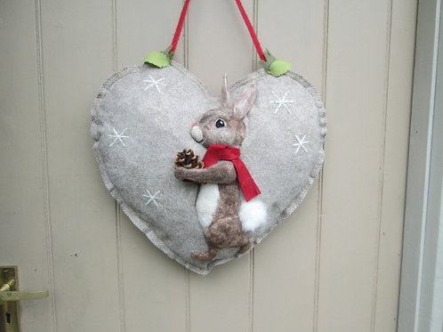 Winter Rabbit Stag Large Door Heart