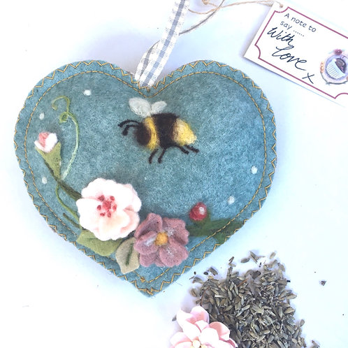 Roses and bee floral scented heart