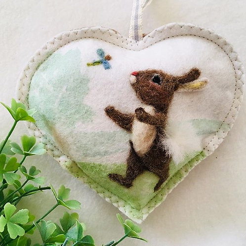 Rabbit with dragon fly Heart ~ personalised gift heart