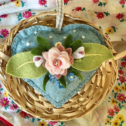 Felt Rose Flower scented Heart ~ personalised gift heart, personalized gi