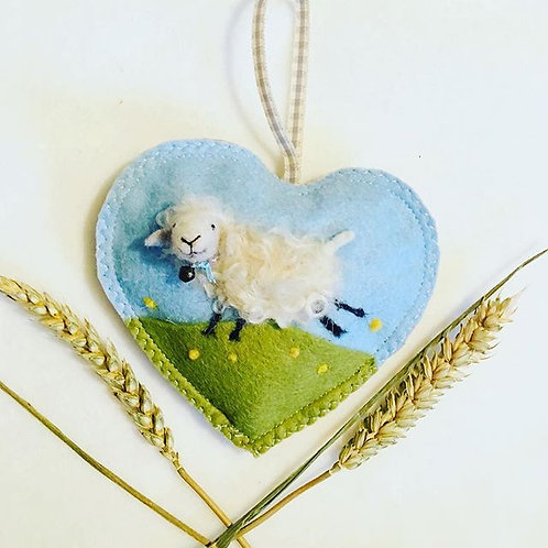 Curly the sheep ~  personalised gift heart