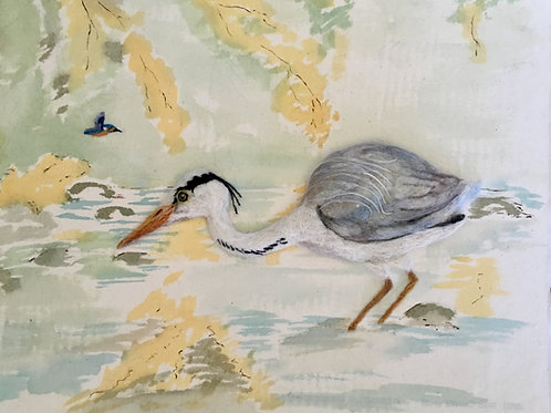 Heron on the River water colour and needle felted Picture