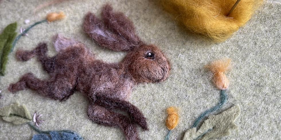 Hare 3d picture needle felting workshop