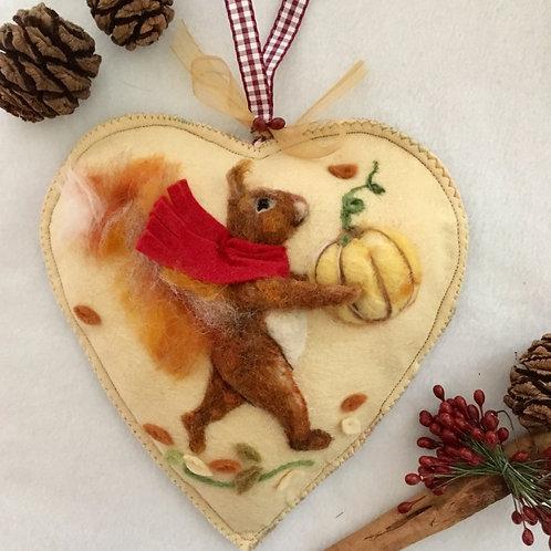 Squirrel with Pumpkin Halloween Autumn decor ~ Midi size heart
