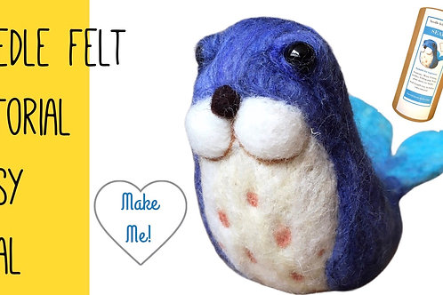 Seal needle felting kit EASY - craft kit