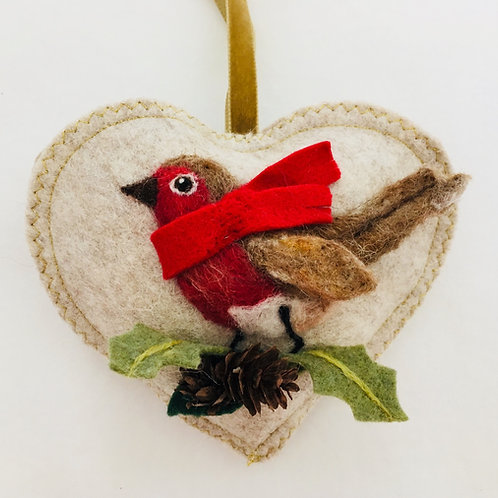 Robin in a scarf on mini fir cones ~  personalised gift heart