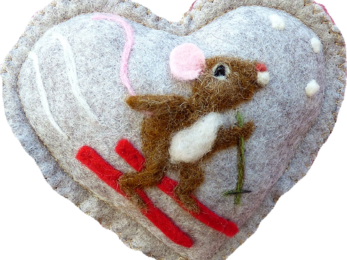 Ski Mouse - Watch out! ~  personalised gift heart