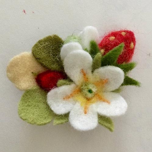 Strawberry Felt Flower brooch