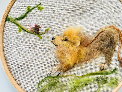 Aesop's Fable, The Lion and the Mouse, needle felt picture