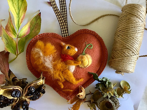 Squirrel with Pumpkin Halloween Autumn decor ~  personalised gift heart