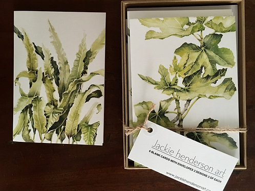 Fern and Fig water colour card box
