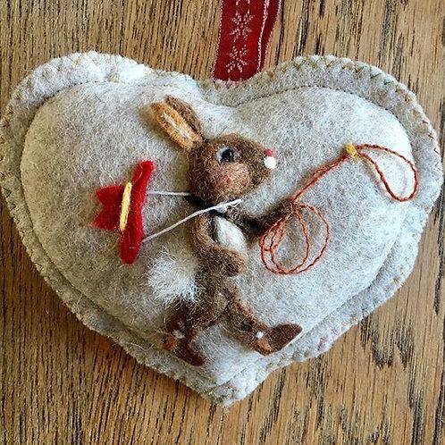 Cowboy Bunny rabbit ~  personalised gift heart