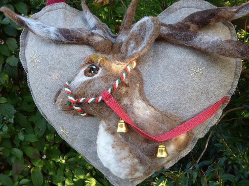 Reindeer with Bridle and bells Large Door Heart