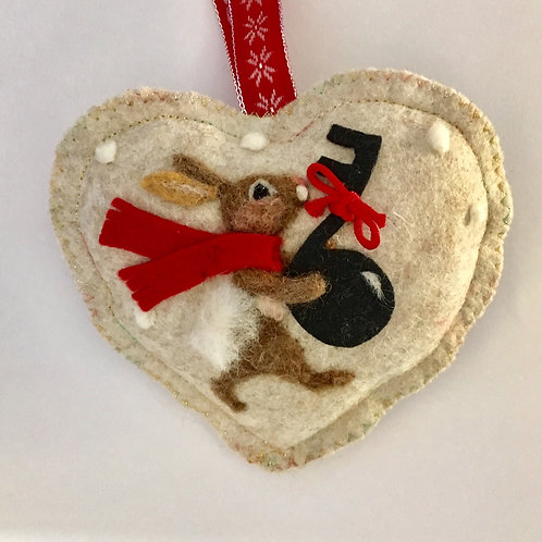 Musical note Bunny rabbit ~  personalised gift heart