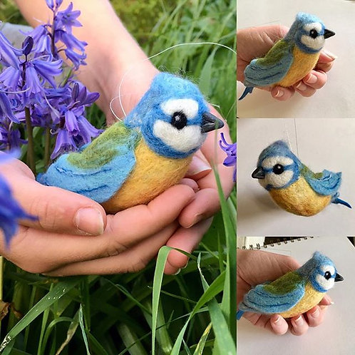 Felted Blue tit sculpture on a hanging thread