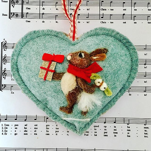 Present Bunny with Mistletoe behind his back!! ~ personalised gift heart, perso