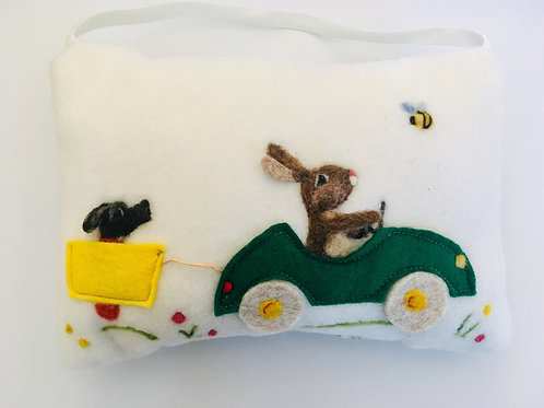 Rabbit in racing car Tooth Pillow