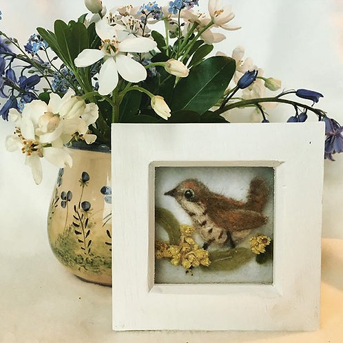 Jenny Wren 3d felted sculpture Picture with dried flowers