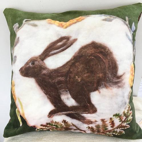 Hare cushion, printed needle felt design velvet feel pillow