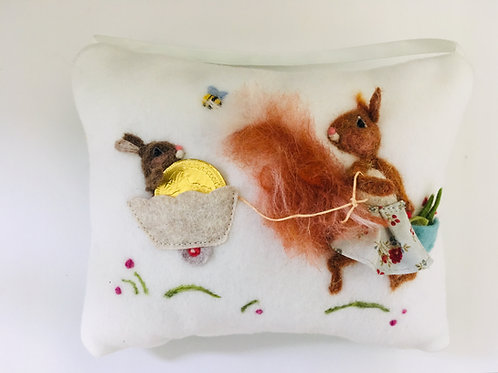 Squirrel in Floral Skirt Tooth Pillow