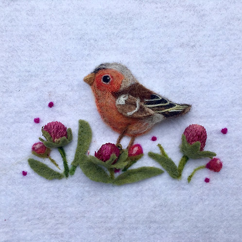 Chaffinch Bird with dried flowers needle felt picture