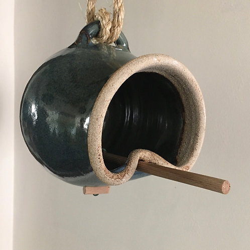 Bird feeder - hand thrown Tenmoku glazed