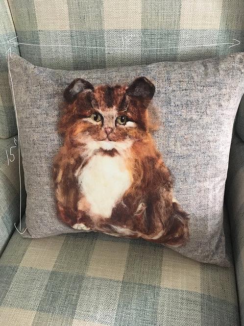 Cat print velvet feel pillow