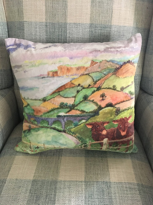 Countryside printed cushion velvet feel