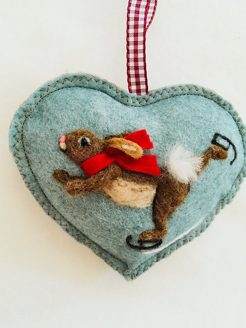 Skating rabbit - Boy ~ personalised gift heart, personalized gi