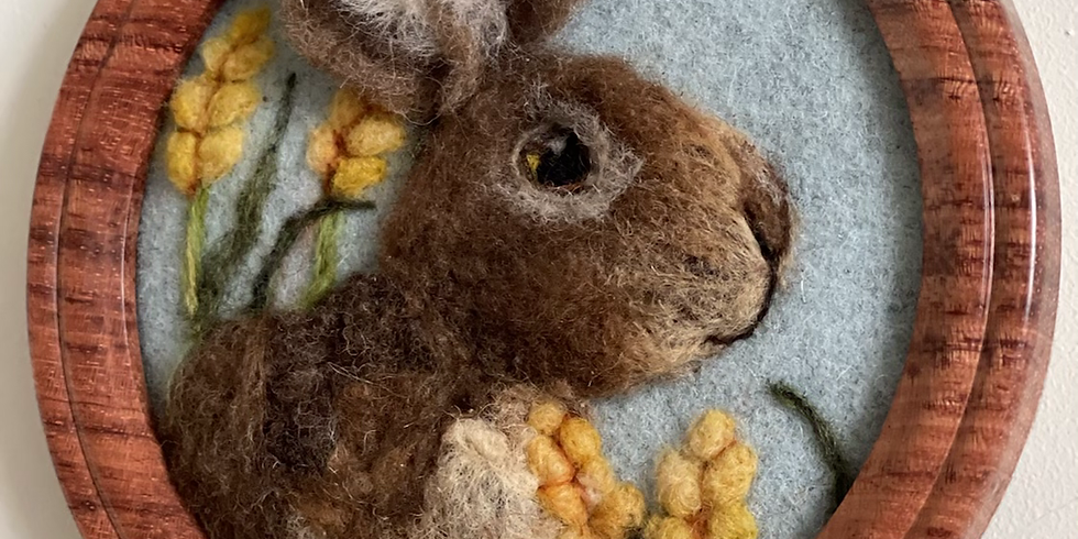 Rabbit in the meadow picture - Felting workshop -
