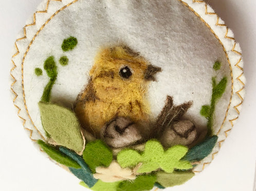 lavender roundel Bird in the nest, - limited edition needle felted bird sculptu