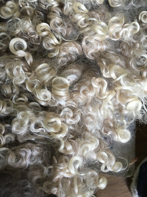 Curly wool locks grey/white tones 30g