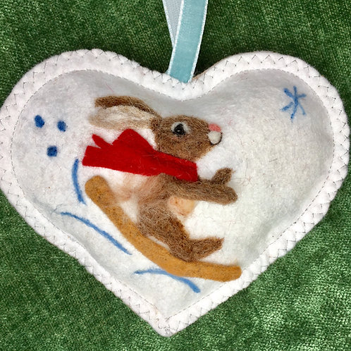 Sledging Rabbit~ personalised gift heart