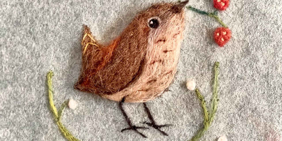Felting workshop - wren and snow drops / berries picture