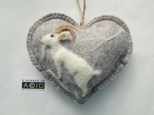 Mountain Goat ~  personalised gift heart