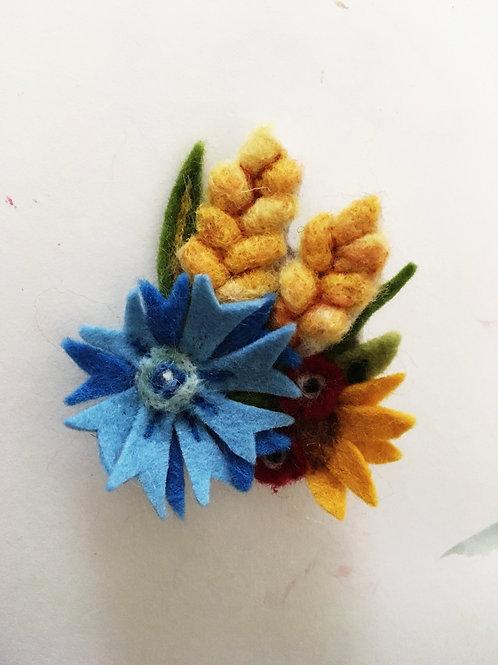 Cornflower and Ripening Wheat Felt Flower brooch