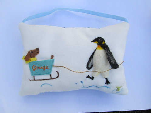 Penguin Tooth Fairy Pillow pulling dog in a sled