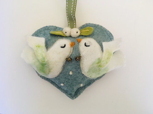 Two Turtle Doves ~ personalised gift heart