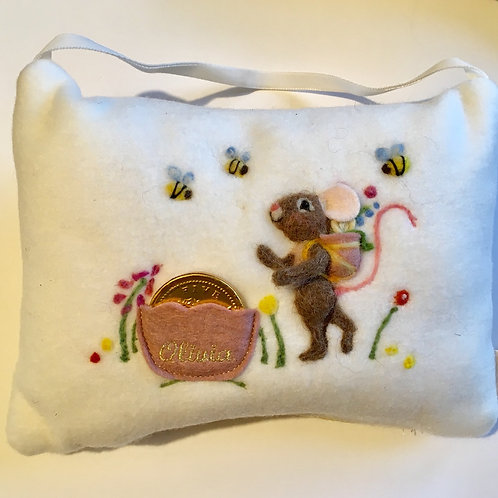Tooth Fairy Pillow Mouse with flowers talking to the bees