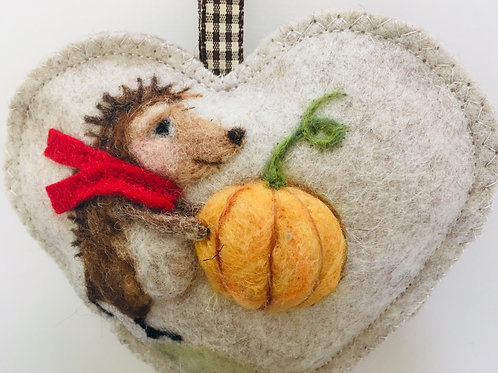 Pumpkin hedgehog ~ personalised gift heart