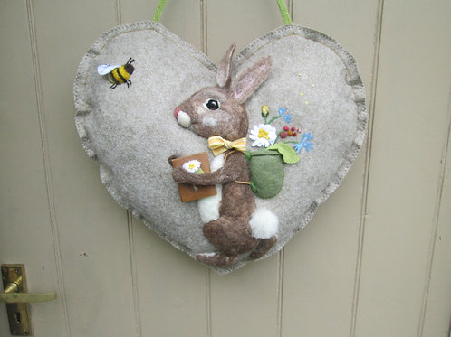 Summer Rabbit Large Door Heart