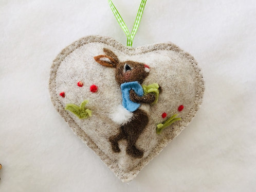 Garden Rabbit with waistcoat and lettuce ~  personalised gift heart