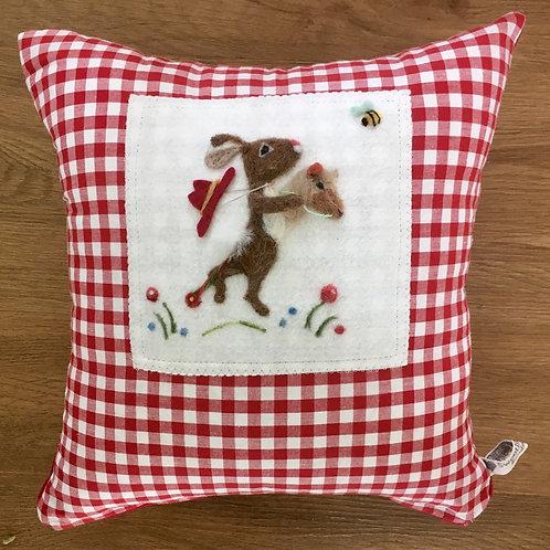 Hobby Horse Bunny needle felt pillow