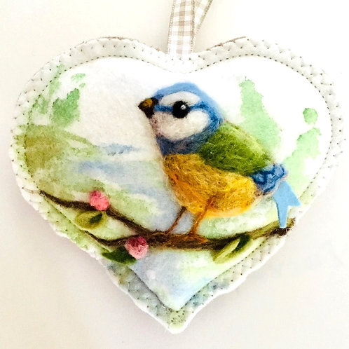 Blue Tit on a blossom branch with lake backdrop~ personalised gift heart